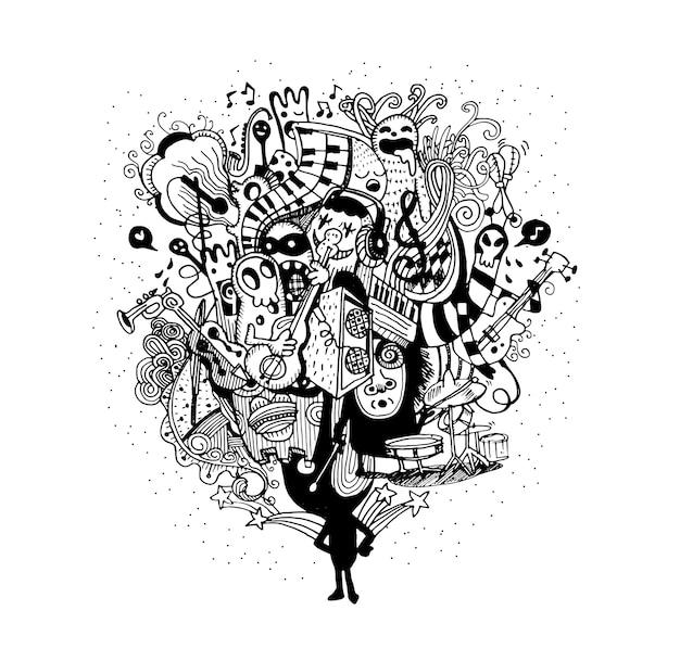 Monsterband, die gezeichnete art der musik hand spielt