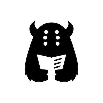 Monsterbuch liest zeitung negativer weltraumlogo-vektorikonenillustration