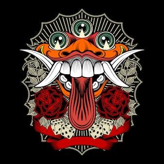 Monsterdämon mit rosen- und würfelillustration