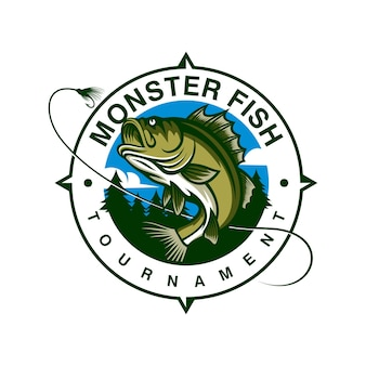 Monsterfisch-logo-schablone lokalisiert auf weiß