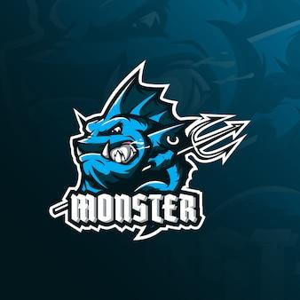 Monsterfisch-maskottchenlogo mit modernem illustrationsstil für abzeichen-, emblem- und t-shirt-druck.