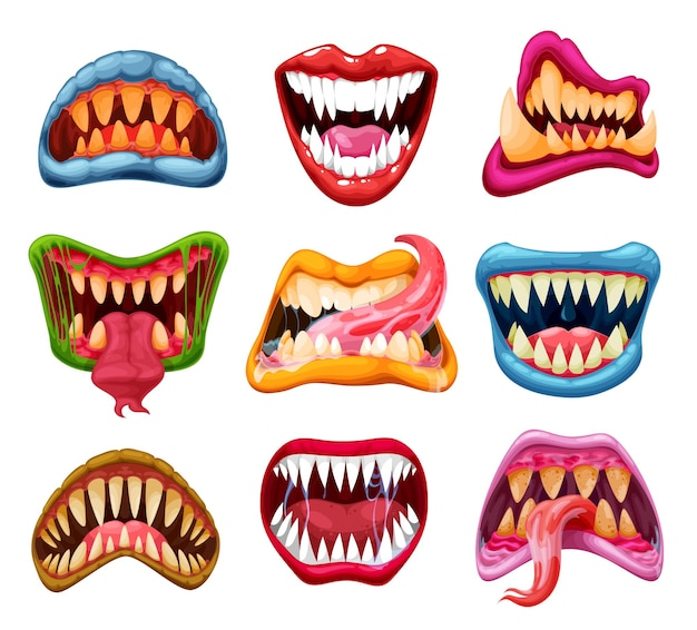 Monsterkiefer und -münder, cartoon-zähne, zungen