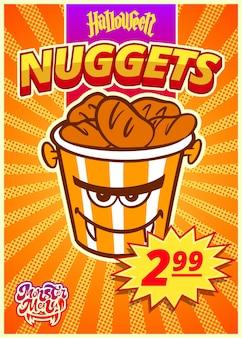 Monstermenü mit nuggets. ein vertikales banner mit einem preisschild für ein fast-food-café am halloween-tag. vektor-illustration.