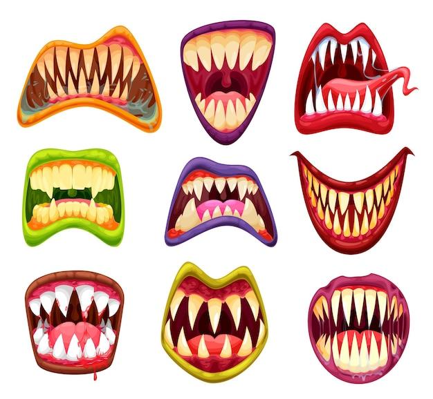 Monstermund mit zähnen, cartoon-kiefern und zungen