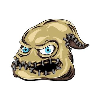 Monstersack mit den augen und dem mund voller eisen