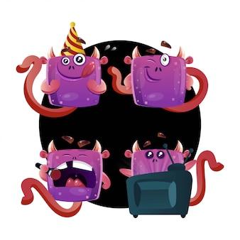 Monstersammlung in verschiedenen posen