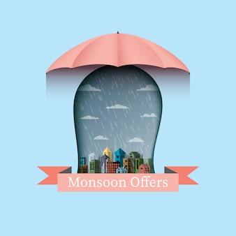 Monsun bietet banner backgroud mit regenschirm und stadt an.