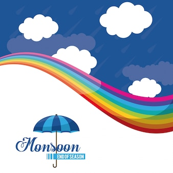 Monsun ende der saison-symbol