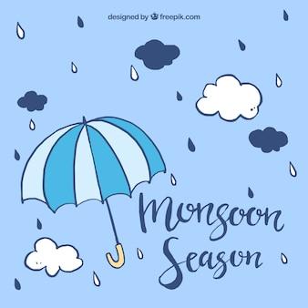 Monsun hintergrund mit regenschirm und hand gezeichneten wolken