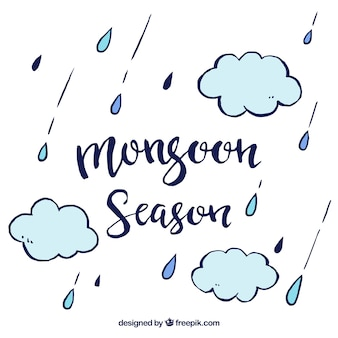 Monsun hintergrund mit wolken und tropfen