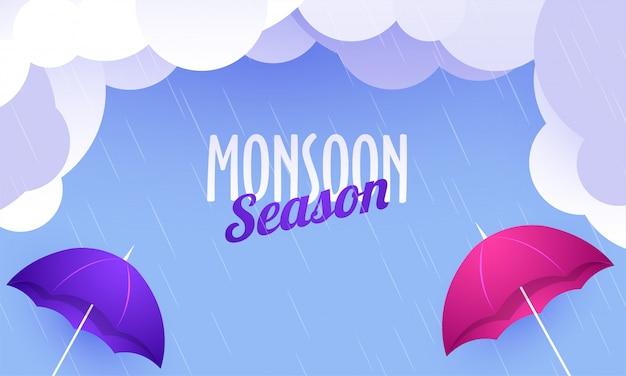 Monsun-jahreszeit-konzept mit wolken