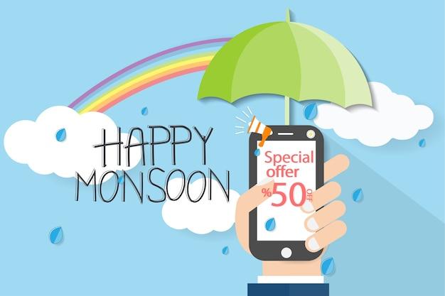 Monsun mit der hand