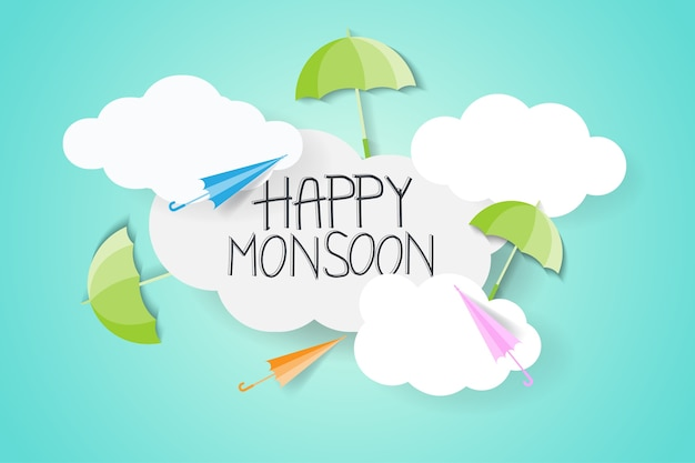 Monsun mit regenschirm