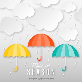 Monsun saison zusammensetzung origami-stil