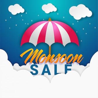 Monsun-verkaufs-konzept mit papierwolke