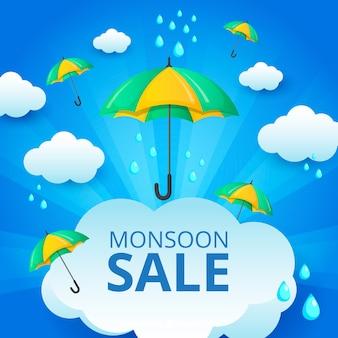 Monsunjahreszeit-verkaufshintergrund in der flachen art
