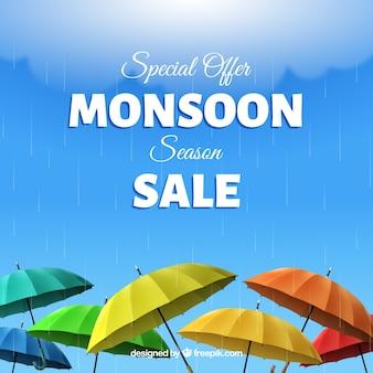 Monsunjahreszeit-verkaufshintergrund mit regenschirmen