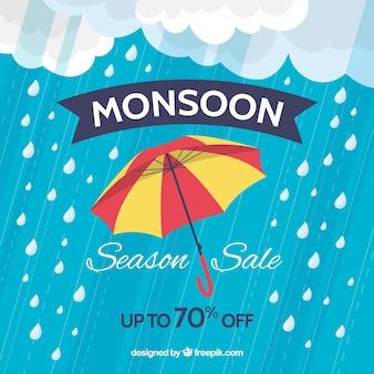 Monsunjahreszeit-verkaufszusammensetzung mit flachem design