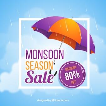 Monsunjahreszeit-verkaufszusammensetzung mit realistischem design
