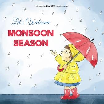 Monsunjahreszeithintergrund in der aquarellart