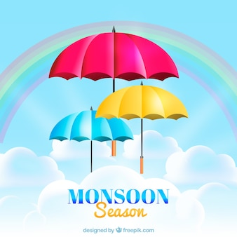 Monsunjahreszeithintergrund mit bunten regenschirmen