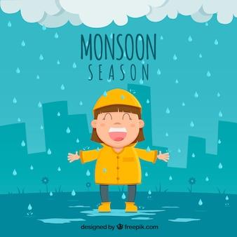 Monsunjahreszeithintergrund mit glücklichem mädchen