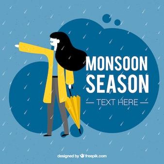 Monsunjahreszeithintergrund mit mädchen