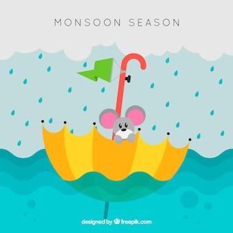 Monsunjahreszeithintergrund mit Maus