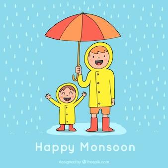 Monsunjahreszeithintergrund mit regen und regenschirm