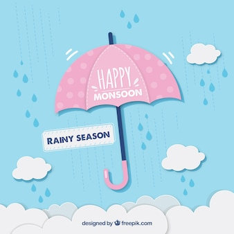 Monsunjahreszeithintergrund mit regenschirm