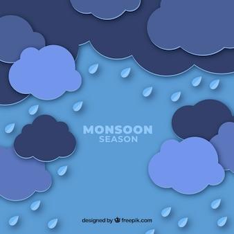 Monsunjahreszeithintergrund mit wolken