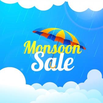 Monsunjahreszeitverkauf mit buntem regenschirm