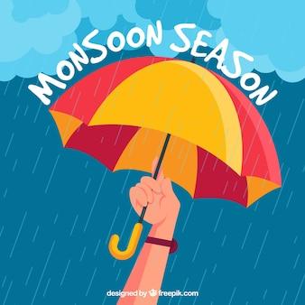 Monsunjahreszeitzusammensetzung mit flachem design