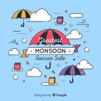 Monsunverkaufshintergrund mit regen und regenschirm
