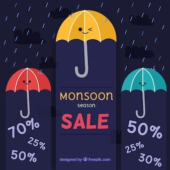 Monsunverkaufshintergrund mit regenschirmen
