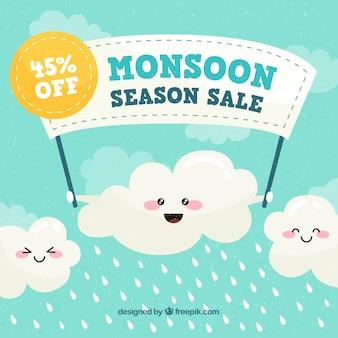 Monsunverkaufszusammensetzung mit flachem design