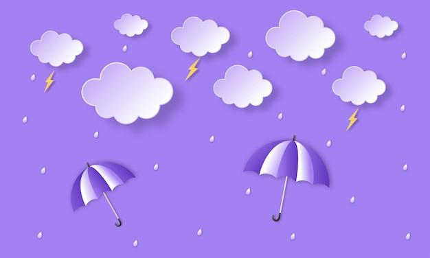 Monsunzeit. regenbogen im regen. papierkunst.