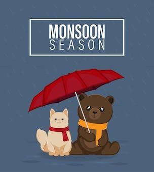 Monsunzeit-vektorillustration, katze und bär, die roten regenschirm halten
