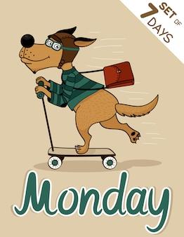 Montag hund wochentage hipster