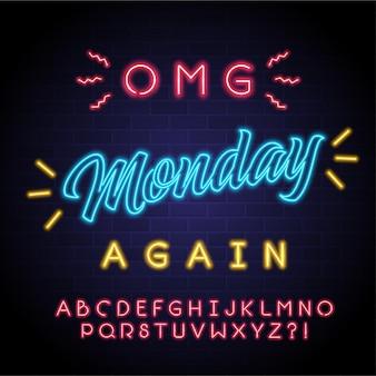 Montag schriftzug neonlicht leuchtend