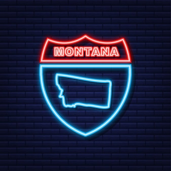 Montana state map neon-symbol. vektor-illustration.