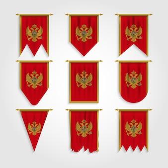 Montenegro flagge in verschiedenen formen