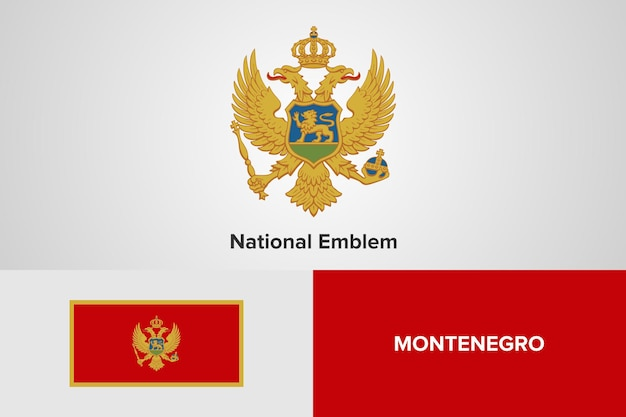 Montenegro national emblem flag vorlage