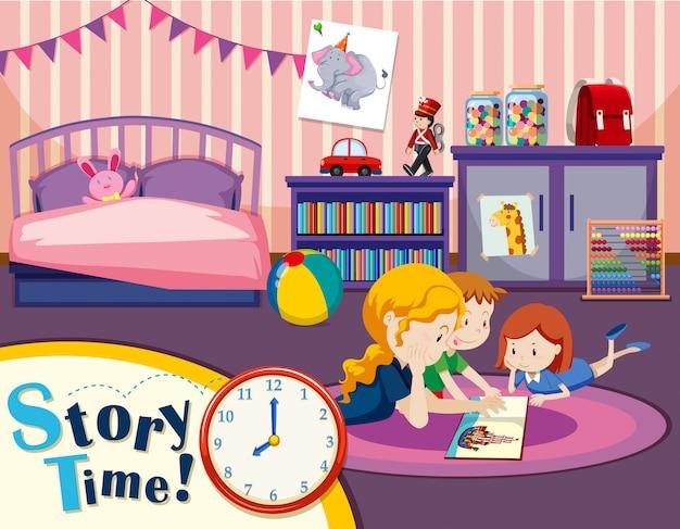 Monther und kinder im schlafzimmer