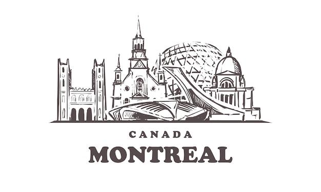 Montreal skizziert stadtbild lokalisiert auf weiß
