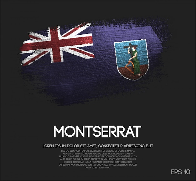Montserrat flagge aus glitter sparkle pinsel farbe