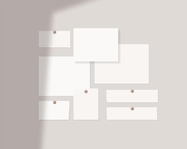 Moodboard-mockup-vorlage leere weiße papierblätter an der wand mit schattenüberlagerung mockup-vektor isoliert vorlagendesign realistische vektorillustration