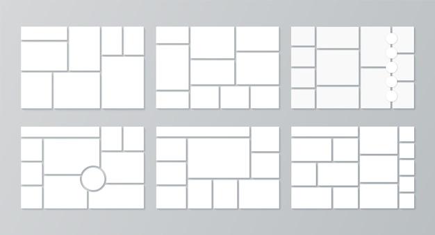 Moodboard-vorlage. fotocollage. vektor-illustration. legen sie moodboards fest. Premium Vektoren