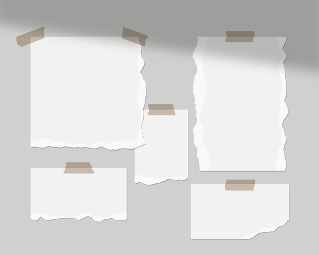 Moodboard-vorlage. leere weiße blätter an der wand mit schattenauflage. isoliert. vorlagenentwurf. realistische illustration.