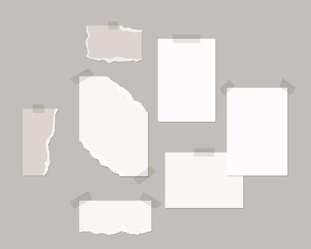 Moodboard-vorlage. leere weiße blätter an der wand mit schattenauflage.